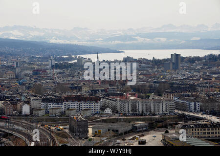 Switzerland: Panoramic view to the old town of Zürich city - Stock Photo