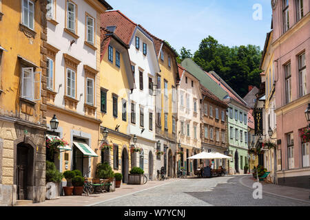 Gornji trg or Gornji street  or Gornji square in the Old town district leads to the walkway to the castle Old town Ljubljana Slovenia Eu Europe - Stock Photo