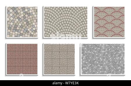 Set of seamless round pavement textures. Vector repeating patterns of radial stone material - Stock Photo