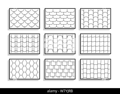 Set of seamless roof tiles textures. Black and white graphic patterns of architectural materials - Stock Photo