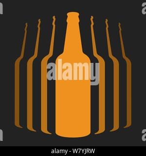 Vector illustration. Flat icon of group of beer bottles isolated on black. - Stock Photo