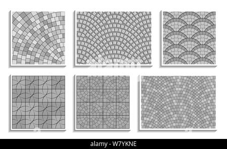Set of grayscale seamless round pavement textures. Vector repeating patterns of radial stone material - Stock Photo