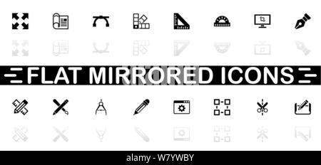 Blueprint icons - Black symbol on white background. Simple illustration. Flat Vector Icon. Mirror Reflection Shadow. Can be used in logo, web, mobile - Stock Photo