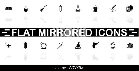 Magic icons - Black symbol on white background. Simple illustration. Flat Vector Icon. Mirror Reflection Shadow. Can be used in logo, web, mobile and - Stock Photo