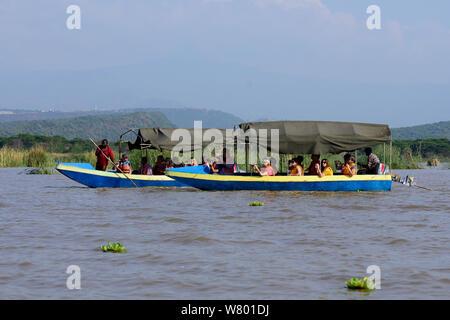 Boats with tourists on the Lake Chamo. Nechisar National Park. Ethiopia, November 2014 - Stock Photo