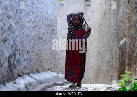Muslim woman walking down narrow streets, Harar, an important holy city in the Islamic faith, UNESCO World Heritage Site. Ethiopia, November 2014 - Stock Photo
