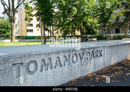 Ljubljana, Slovenia. August 3, 2019.   A view of  Tomanov park in the city center - Stock Photo