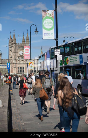 Banners for Bristol European Green Capital 2015 in front of Bristol Temple Meads train station, Bristol, England, UK. August 2015. - Stock Photo