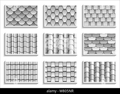 Set of grayscale seamless roof tiles textures. Black-and-white graphic patterns of rooftop materials - Stock Photo