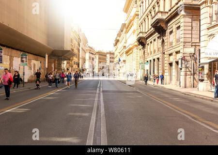 Rome, Italy, 8 April 2018: people walking along Corso Vittorio Emanuele II, an important street that connects the historic center of Rome to the Vatic - Stock Photo