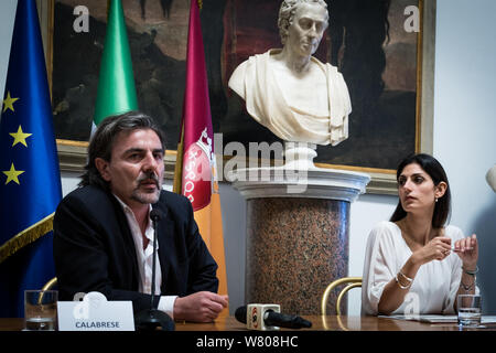 Rome, Italy. 07th Aug, 2019. Presented at the Capitol, the Urban Plan for Mobility in Rome was officially illustrated today by the Mayor of Rome, Virginia Raggi, by the President of the Mobility Commission, Pietro Calabrese, and by his predecessor Enrico Stefano. (Photo by Andrea Ronchini/Pacific Press) Credit: Pacific Press Agency/Alamy Live News - Stock Photo