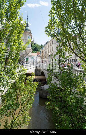 Ljubljana, Slovenia. August 3, 2019.   a view of the three bridges in the city center - Stock Photo