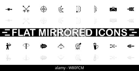 Bows and Arrows icons - Black symbol on white background. Simple illustration. Flat Vector Icon. Mirror Reflection Shadow. Can be used in logo, web, m - Stock Photo