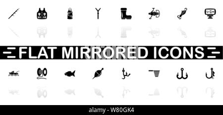 Fishing icons - Black symbol on white background. Simple illustration. Flat Vector Icon. Mirror Reflection Shadow. Can be used in logo, web, mobile an - Stock Photo
