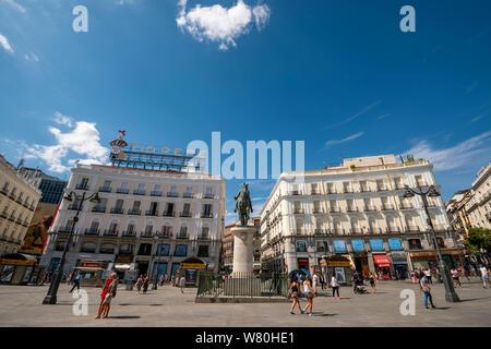 Horizontal view of Puerta del Sol in Madrid. - Stock Photo