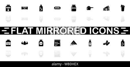 Sport Supplements icons - Black symbol on white background. Simple illustration. Flat Vector Icon. Mirror Reflection Shadow. Can be used in logo, web, - Stock Photo