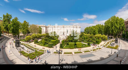 Horizontal aerial view of the Royal Palace and Plaza de Oriente in Madrid.
