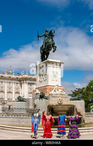 Vertical view of the Monument to King Philip IV infront of the Royal Palace in Madrid. - Stock Photo