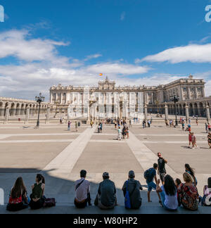 Square view of the Royal Palace in Madrid.