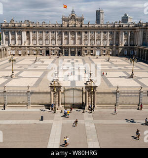 Square aerial view of the Royal Palace in Madrid.
