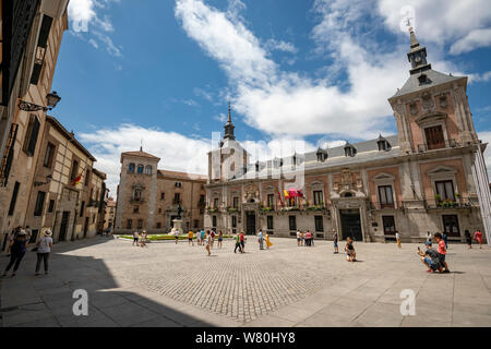 Horizontal view of Plaza de la Ville in the oldest part of Madrid. - Stock Photo