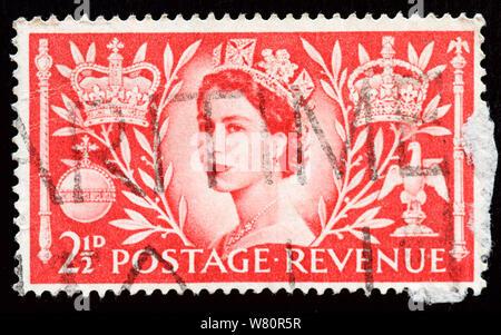 Great Britain Postage Stamp - Queen Elizabet II Coronation - Stock Photo