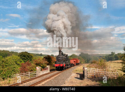Andy Booths A-class works a goods on the Embsay & Bolton Abbey Steam Railway - Stock Photo