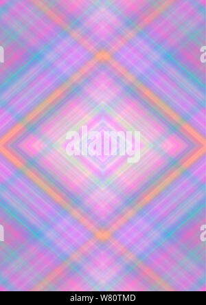 Abstract background in pastel shades  with rhomboid patterns obtained from the intersection of pink, purple, blue, yellow, orange, beige  stripes and - Stock Photo
