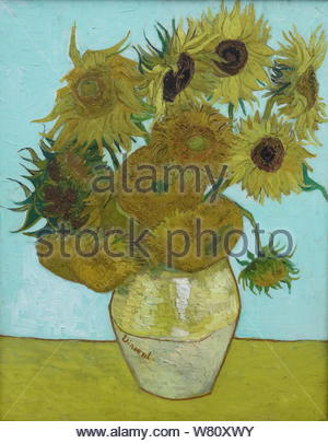 Sunflowers (1888). Vincent van Gogh (1853-1890). Alte Pinakothek, Munich, Germany. - Stock Photo