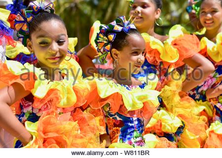 Young ballerinas in the Colombia's independence day. - Stock Photo