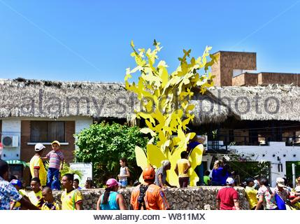 Monument to the yellow butterflies of Gabriel Garcia Márquez, Nobel of Colombian literature. - Stock Photo