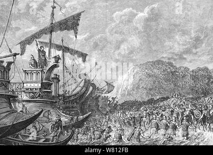 In 55 BC, Julius Caesar decided to make an expedition to Britain. He gathered a fleet consisting of eighty transport ships, sufficient to carry two legions, that he initially tried to land at Dubris (Dover), a natural harbour identified as a suitable landing place. However, when he came in sight of shore, the massed forces of the Britons gathered on the overlooking hills and cliffs dissuaded him from landing and the fleet sailed along the coast to an open beach. Having been tracked all the way along the coast by the British cavalry and chariots, the landing was opposed. To make matters worse, - Stock Photo