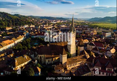 aerial view oh Medias citadel. Romania - Stock Photo