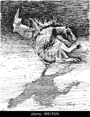 Brave rodeo rider riding a leg kicking wild bronc horse over a horse only silloette