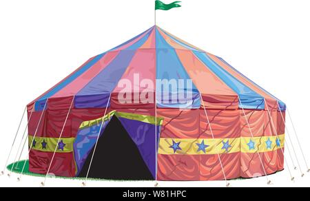 An old time circus tent, big top with open flaps and a flag waving on top - Stock Photo