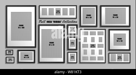 Moscow, Russia - 10 December, 2018 Full collection of IKEA Ribba photo frames. Real sizes. Vector set of black picture frames with white passepartout. - Stock Photo