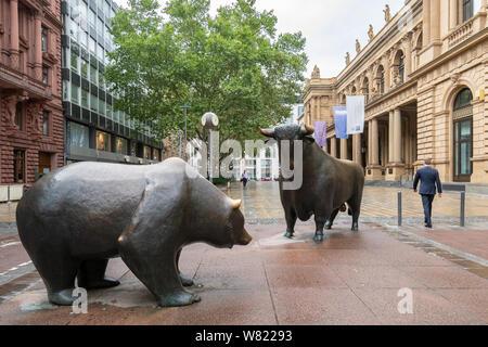 Frankfurt Stock Exchange bull and bear statues - Frankfurt am Main, Germany, Europe - Stock Photo