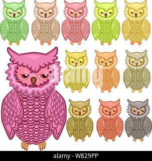 Set of twelve colourful owls isolated on white background - Stock Photo