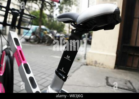 A bicycle of bike-lending service Ubike is seen on a road in Shanghai, China, 20 December 2016.   With China experiencing a booming sharing-economy, U - Stock Photo
