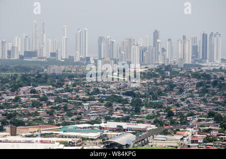 Landscape showing the the contrast between the populated San Miguelito neighborhoods and the exclusive Costa del Este area in the background