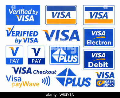 Different Visa logotypes printed on paper - Stock Photo