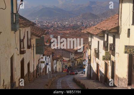Cobblestone streets in the UNESCO World Heritage City of Cusco, Peru