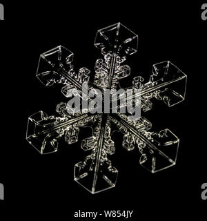 Snowflake magnified under microscope, Lilehammer, Norway