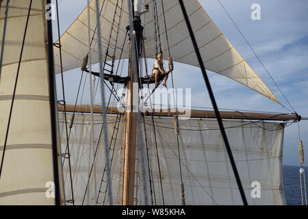 Corwith Cramer, a 134-foot steel brigantine built as a research vessel for operation under sail. Sargasso Sea, Bermuda - Stock Photo