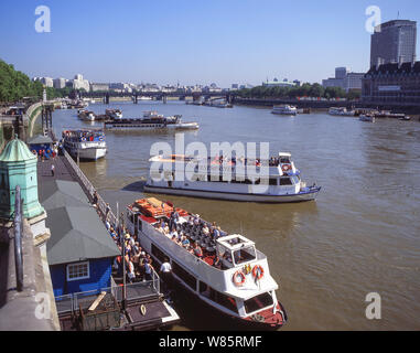Thames River Cruise terminal at Westminster Pier, City of Westminster, Greater London, England, United Kingdom - Stock Photo