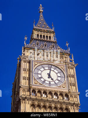 Big Ben and Elizabeth Tower from Westminster Bridge, Palace of Westminster (Parliament), City of Westminster, Greater London, England, United Kingdom - Stock Photo