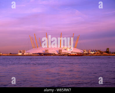 The Millennium Dome (The O2 Arena) over River Thames, Greenwich Peninsula, Royal Borough of Greenwich, Greater London, England, United Kingdom - Stock Photo