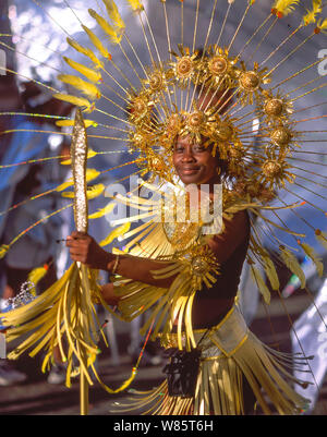 Man in costume at Notting Hill Carnival, Notting Hill, Royal Borough of Kensington and Chelsea, Greater London, England, United Kingdom - Stock Photo