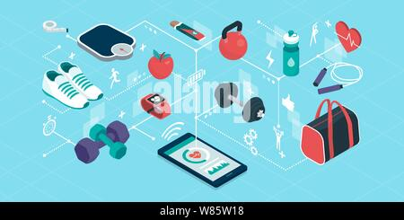 Fitness and sports equipment in a smartphone app, isometric objects connecting together, workout and fitness tracker app - Stock Photo