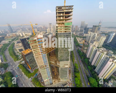 --FILE--The Tencent Binhai Building, the new global headquarters of Tencent, is under construction at the Nanshan Science and Technology Park in Shenz - Stock Photo